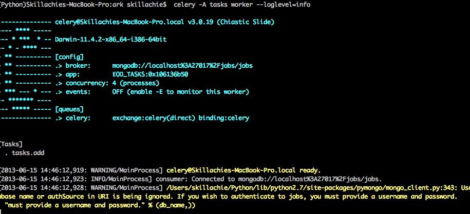Using Celery and MongoDB | Skillachie